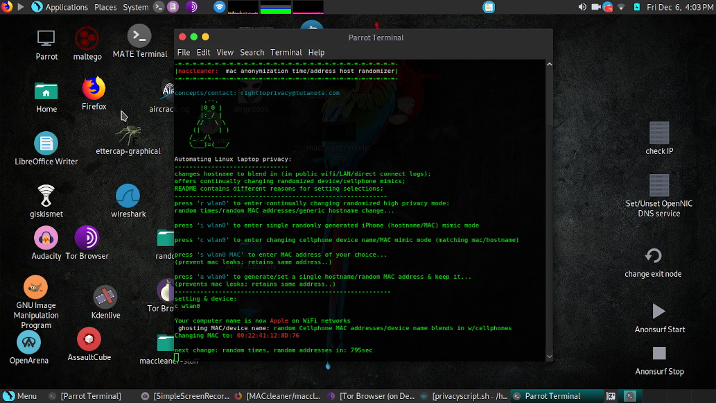 Change MAC Address Random Intervals: Script - Community - Parrot Community